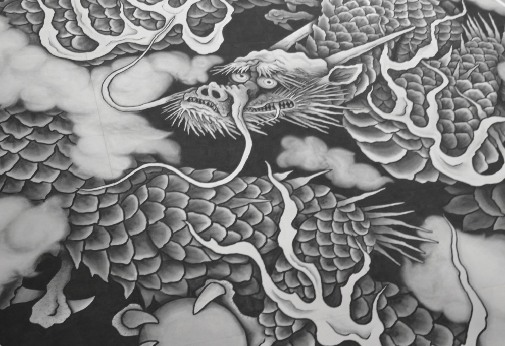 Detail of the dragon on the temple ceiling
